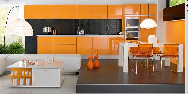 Beautiful Orange Interior Paint To Energize Your Life Every Day! : Stunning Modern Orange Kitchen With Glossy Surface Furniture
