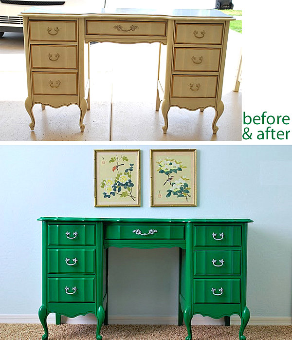 Creative Furniture Modifying Interior Design Perfectly: Stunning Painted Desk Makeover From Dull Cream To Fancy Green