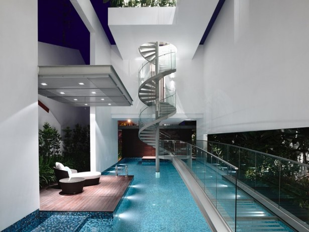 Modern Contemporary Home Renovation With Minterior Furniture: Stunning Spiral Staircase In The Singapore Residence Home With Modern Pool Design ~ stevenwardhair.com Architecture Inspiration