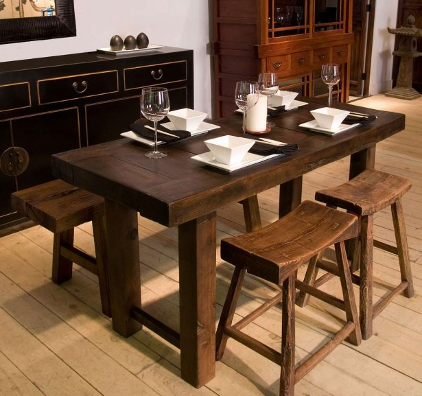 Stunning TRaditional Oak Wood Narrow Kitchen Table Design Ideas