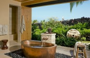 Trendy Freestanding Bathtubs Designs For Luxurious Bath : Stunning Tropical Ambiace Combines Beautifully With The Copper Tub On A Bed Of River Stones