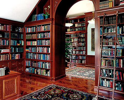 Custom Home Libraries In This Era: Stunning Wooden Style Baroque Design Custom Home Libraries