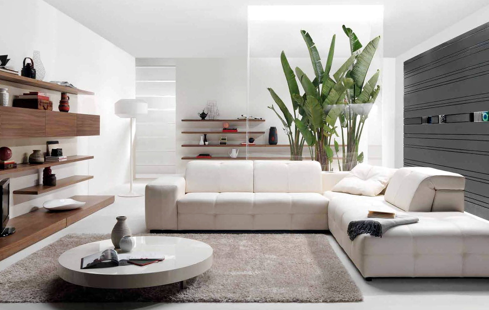 Spacious Modern Home Interior Design For Living Room : Stylish Bed Sofa Round Coffee Table Designer Interiors
