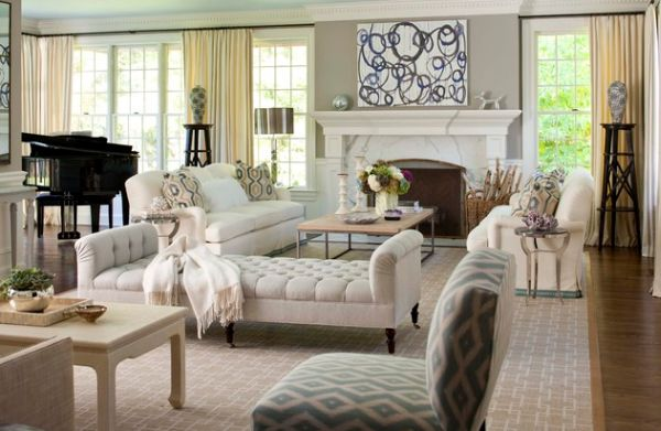 Elegant Interior With Everlasting Chaise Lounge Chair : Stylish Chaise Lounge In Cream For A Comfortable Livng Room