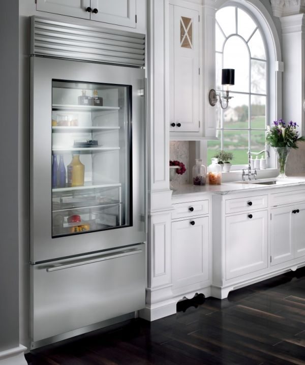 25 Designs Of Glass Door Refrigerators : Stylish Glass Door Refrigerator For A Kitchen In Neutral Tones
