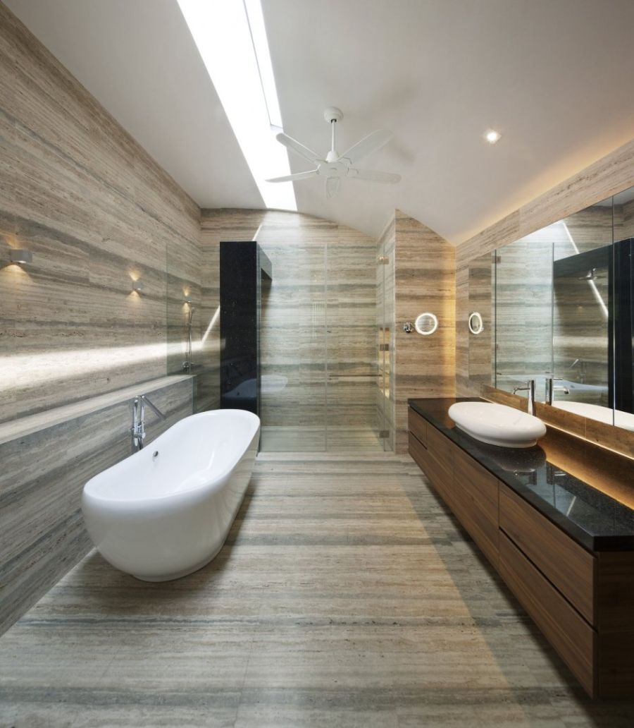 Contemporary Home Style With Attractive Appearance : Stylish Modern Bathroom In The Wind Vault House White Glossy Tub