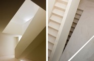 Awesome Rectangular House For Unique Living Place : Subtle Staircase Design And Wall In The White House Ayora
