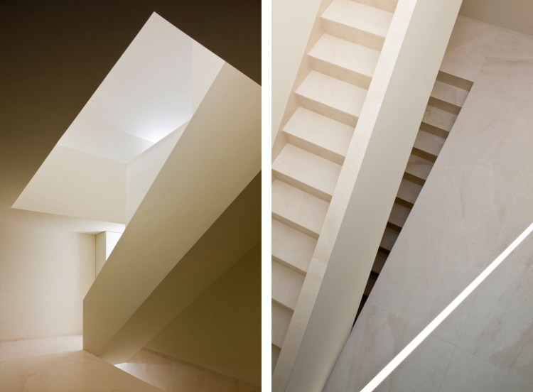 Awesome Rectangular House For Unique Living Place: Subtle Staircase Design And Wall In The White House Ayora