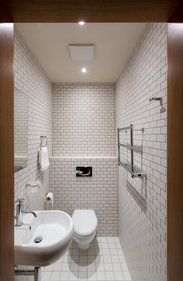 Awesome Layout Inspirations For Apartment Design: Subway Tiles Promise Cleaner And Brighter Appearance Of This Narrowed Kiev Apartment Bathroom ~ stevenwardhair.com Apartments Inspiration
