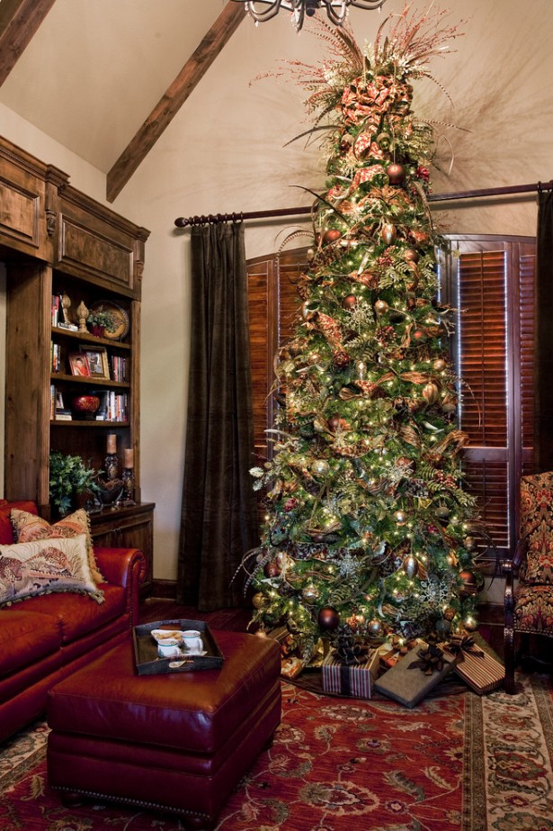 Cool Christmas Mantels Design With Colorful Ribbon And Glossy Ornament: Tall Christmas Tree Christmas Mantels Design Leather Sofa ~ stevenwardhair.com Tips & Ideas Inspiration