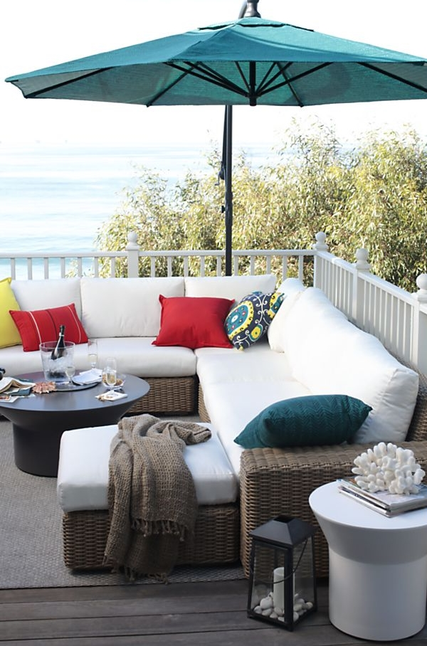Designing Outdoor Space To Be A Place To Relax : Teal Outdoor Umbrella