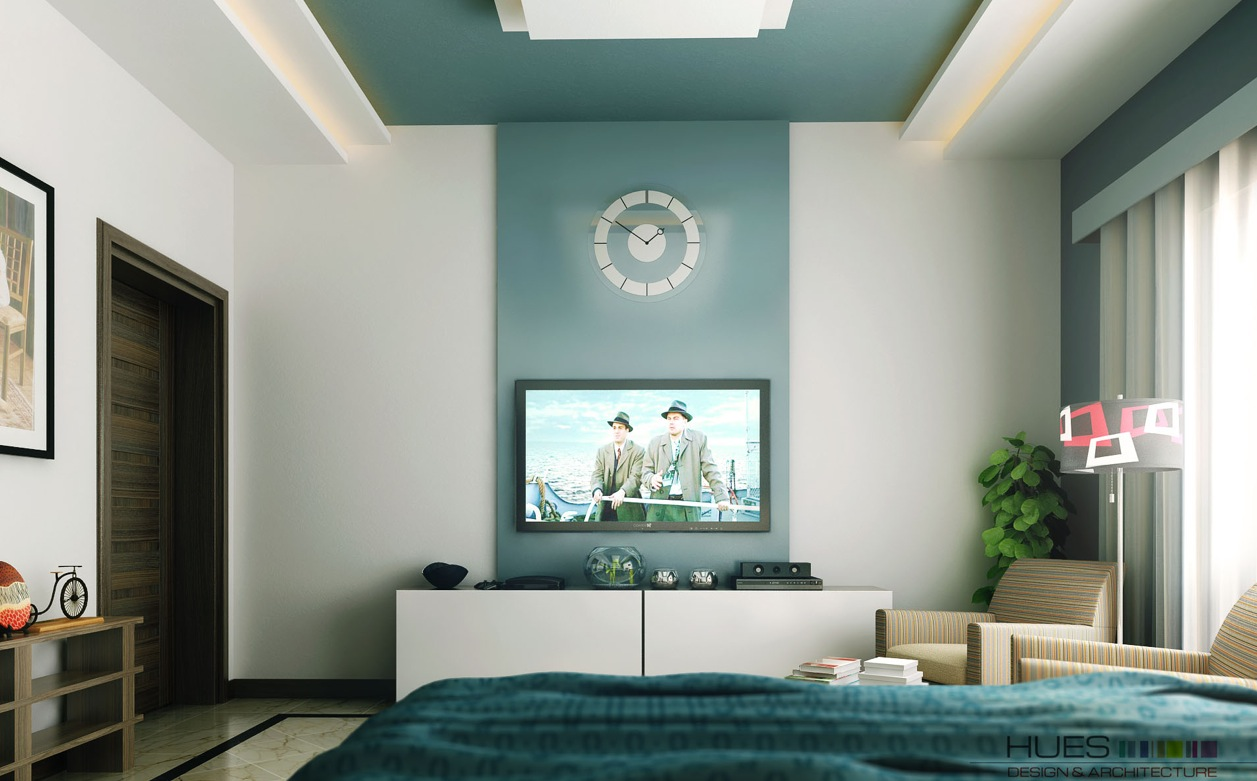 Chic Bedroom Ideas: Feature Walls For Decoration : Teal White Tv Entertainment Unit