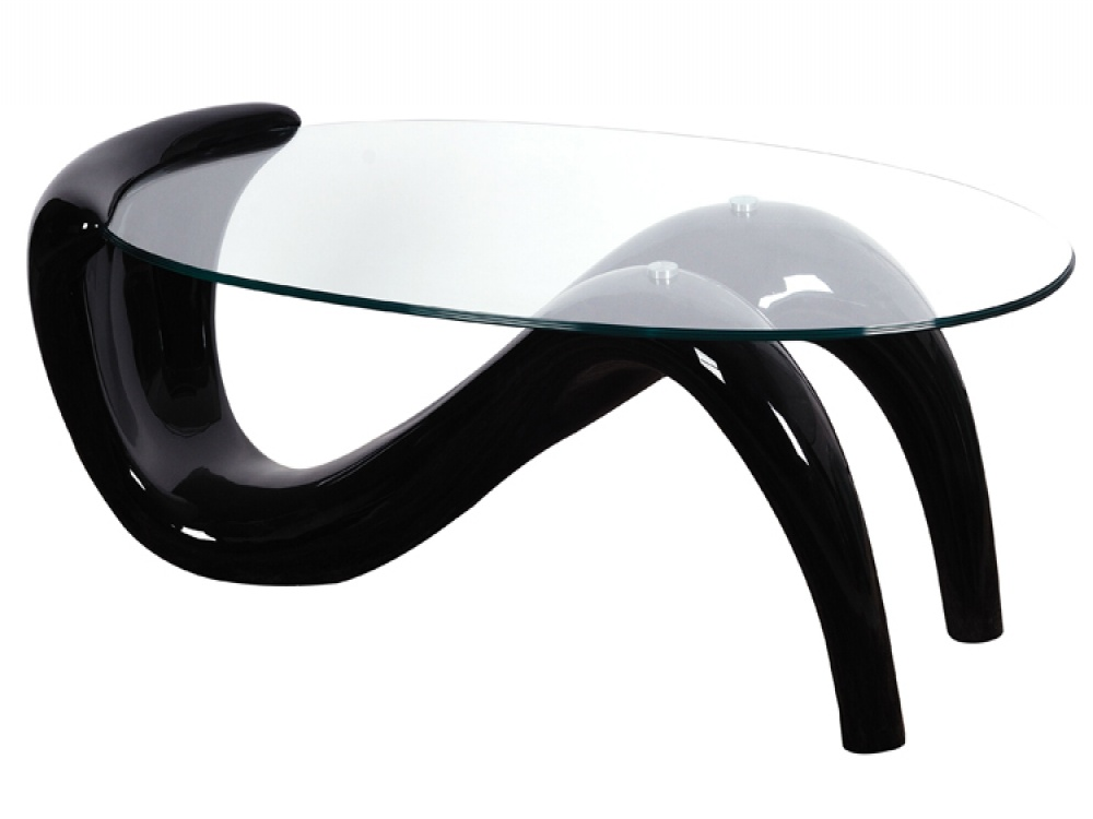 Coffee Table Designs : The Pike Oval Clear Glass High Gloss Coffee Table