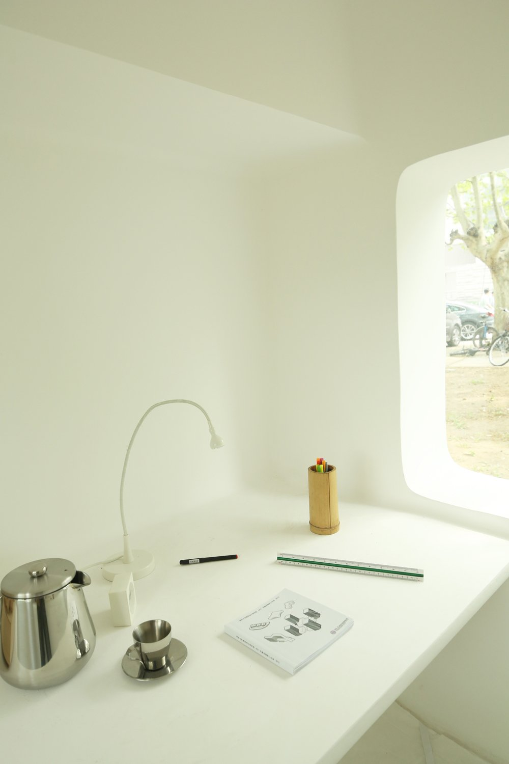 Beautiful Micro House For Small And Functional Residential Place : The Study Space With White Interior Theme