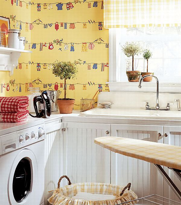 Gorgeous Laundry Room Interior Inspiration: Thibaut Laundry Room Wallpapers
