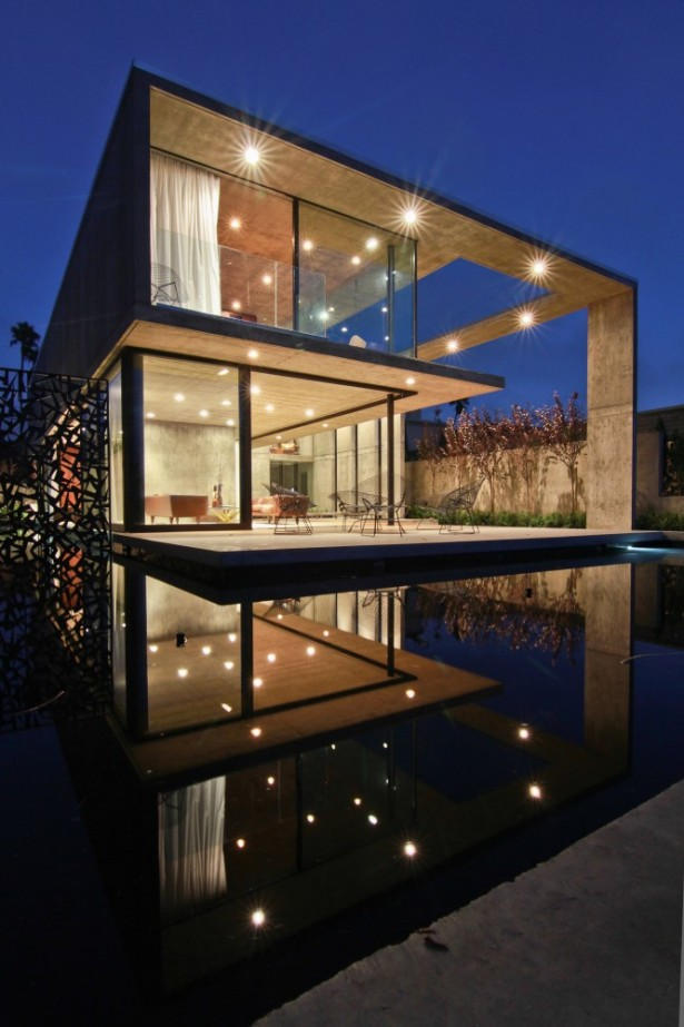 Amazing Open Plan Residence So Bright And Spacious With Glass Wall: Three Tier Minimalist House In Evening View With Dark Accent Outside ~ stevenwardhair.com Villas Inspiration