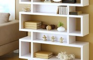 Modern Bookshelves With Different Unique Angle : Three Tier Modern White Bookcase