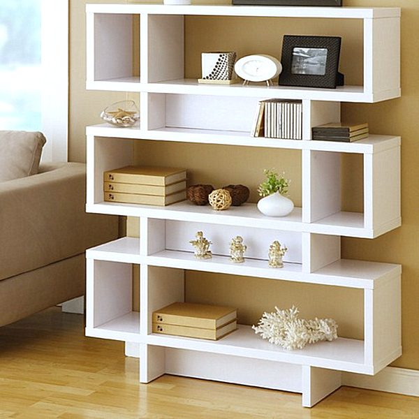 Modern Bookshelves With Different Unique Angle: Three Tier Modern White Bookcase