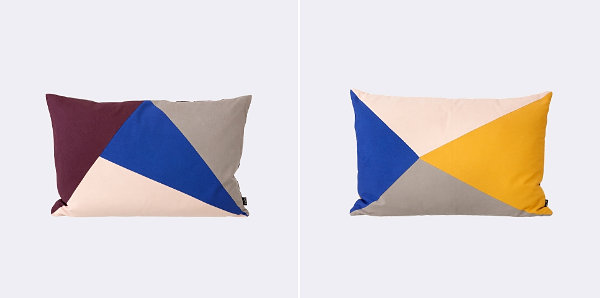 Stylish Triangular Wall Design For Colorful Interior Decoration: Throw Pillow With Bold Triangles Motif In Blue Yellow Cream And Grey