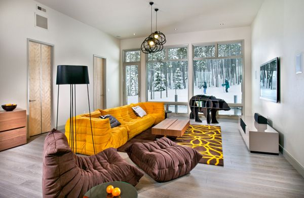 Pillow Scheme Idea To Beautify Your Space Design : Togo Sofa Adds Bright Yellow Accents