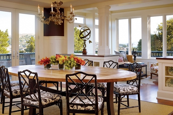 Fascinating Dining Room Decoration Offers Comfort Taste : Traditional Chairs With Rustic Dining Table