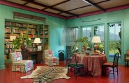 Modern Red Interior Decoration Bringing Excellent Decor : Traditional Home Office And Dining Room With Zebra Carpet