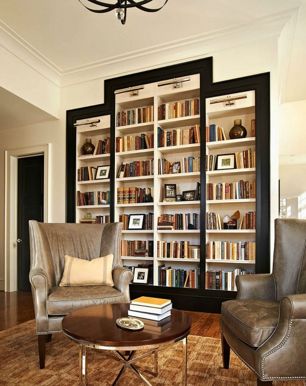 Gorgeous Bookshelf Design For Tidy Room Design: Traditional Reading Room With Big Mounted Wall Bookcase Design ~ stevenwardhair.com Bookshelves Inspiration