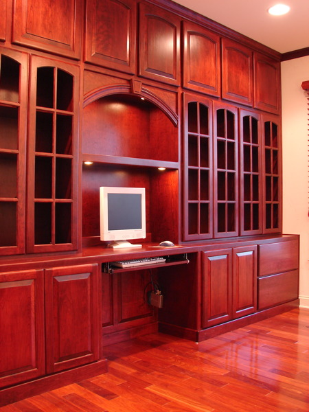 Modern Custom Home Library Design With Wooden Furniture: Traditional Wooden Style Shelving Custom Home Library Design