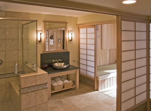 Japanese Bathroom Design: Traditional Touch In Modern Lifestyle : Tranquil Japanese Bathroom With Serene Shoji Screens