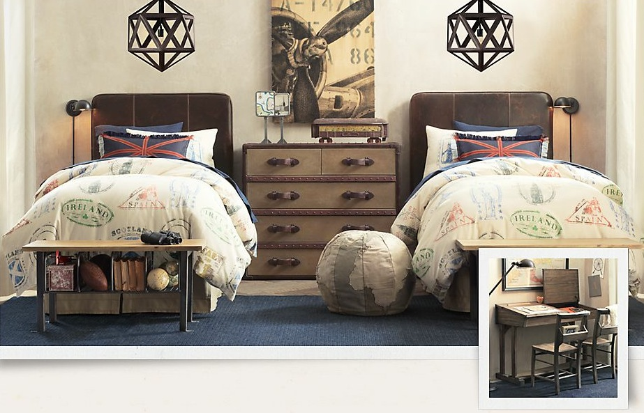 Traditional Boys Room Decoration For Authentic Feel : Travel Themed Kids Bedroom