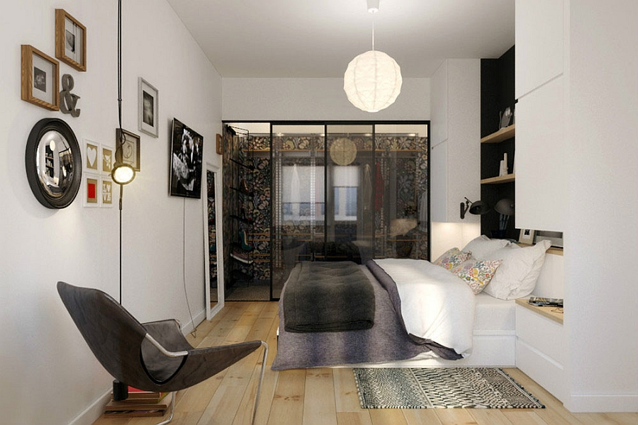 Compact Small Apartment In Black And White Decoration: Trendy Small Bedroom Design Idea With Minimalist Modern Interior Decoration