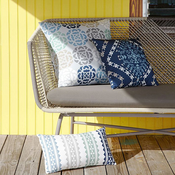 Designing Outdoor Space To Be A Place To Relax: Tribal Style Pillows From West Elm