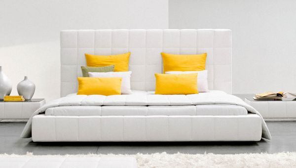 Elegant Touch Of Modern Bedroom Design: Tufted Comfort Offered By The Chic Squaring Alto Bed Yellow Accent ~ stevenwardhair.com Bedroom Design Inspiration