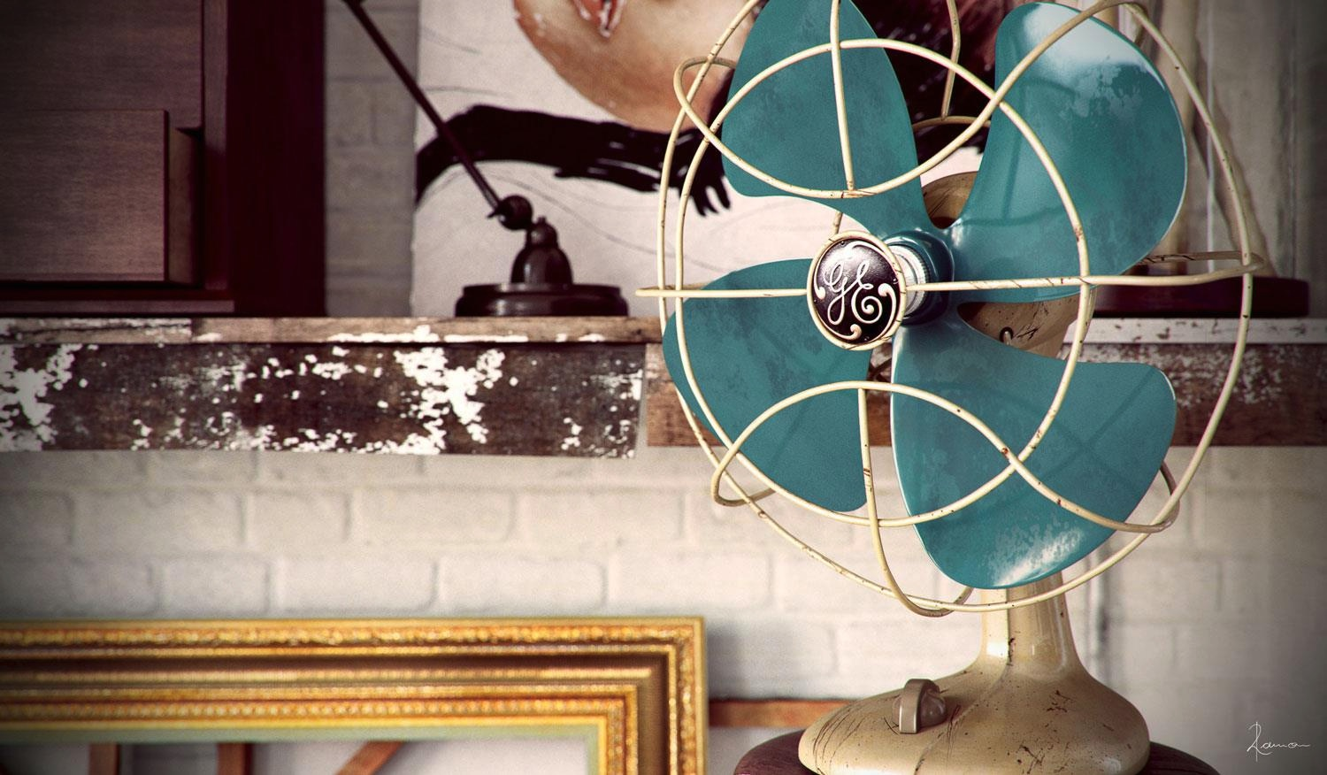 Industrial Bedroom Give You Artistic Feeling: Turquiose Fan