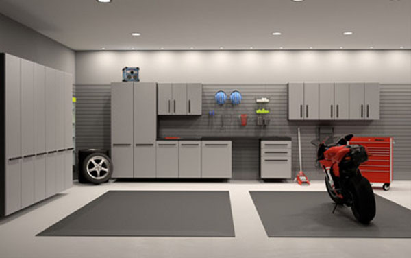 Mesmerizing Motorcycle Display For Gorgeous Decoration Concept: Twin Grey Carpet And White Cabinetry Ideas Dream Motorcycle Garage