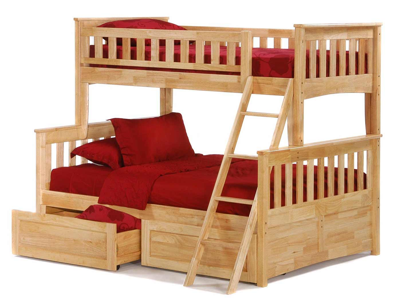 Variety Of Loft Beds For Adults With Integrated Ideas: Twin Over Full Size Red Accent Bunk Beds