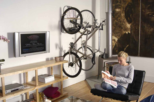 Bike Storage Ideas For Small House : Two Bike LED TV Simple Shelves Wall Decoration