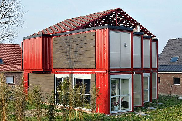 Lovely Houses Made From Shipping Containers With Bold Display : Two Storey Contemporary House In A Bold Shade