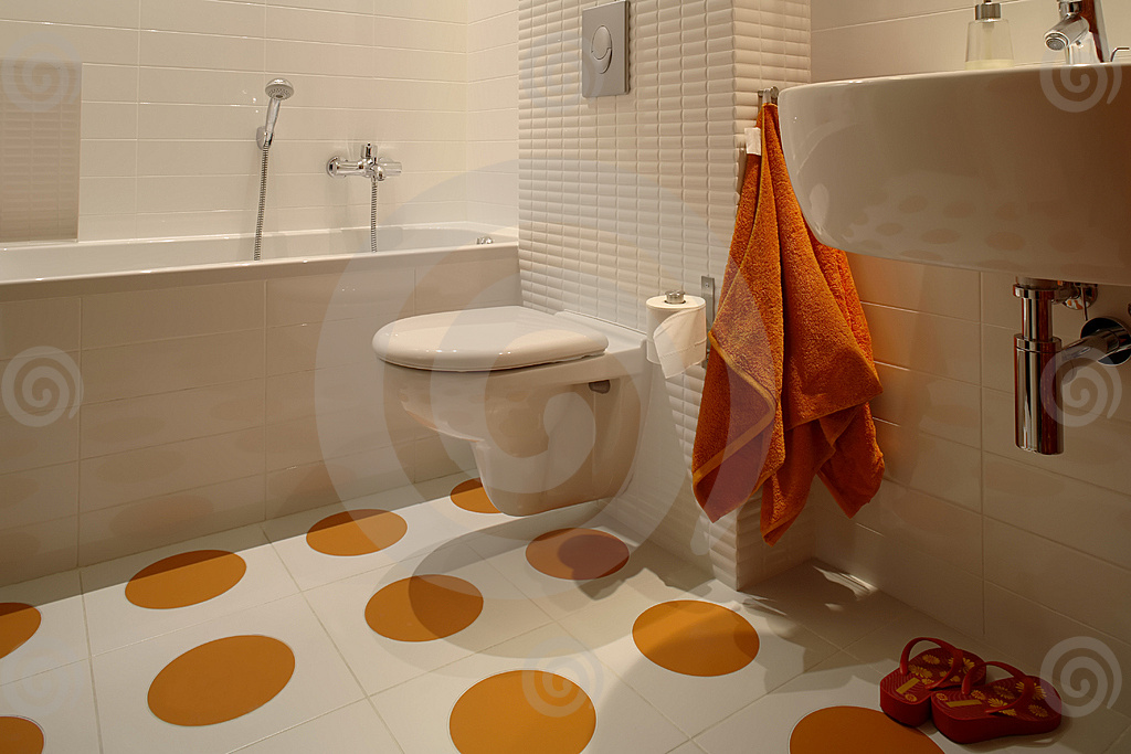 Enhancing Room Color For A Lively Home And How It Affects Your Mood : Types Of Flooring Tiles With Orenge Dot