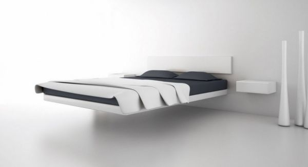 30 Design Ideas Of Modern Floating Bed: Uber Minimalist Floating Bed Design With Wall Support