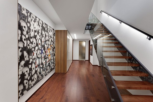 Elegant Grayish House With Modern Interior: Ultra Modern Hallway Design Montreal
