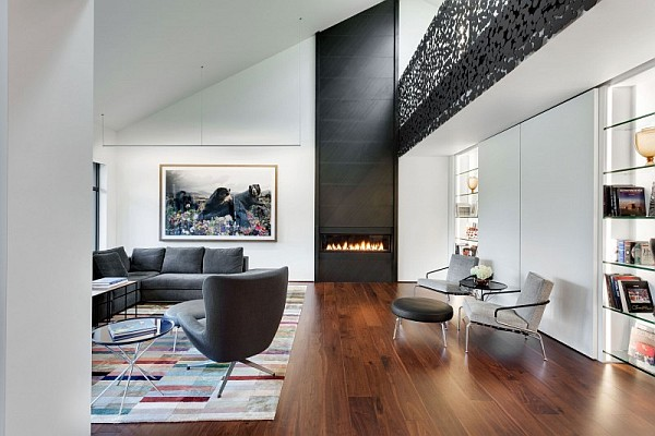 Elegant Grayish House With Modern Interior : Ultra Modern Living Room Canada