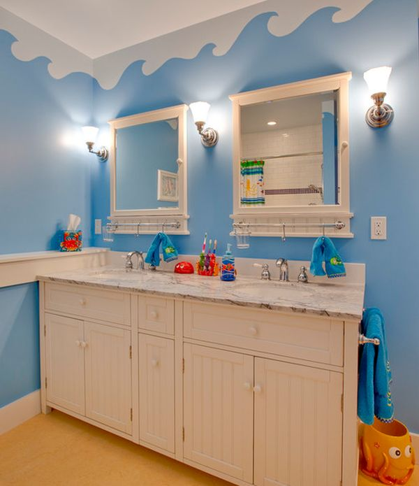Stunning Kids Bathroom With Nursery Decor: Underwater World Theme On The Walls With Unique Cabinets Turns This Bathroom Into A World Of Fun