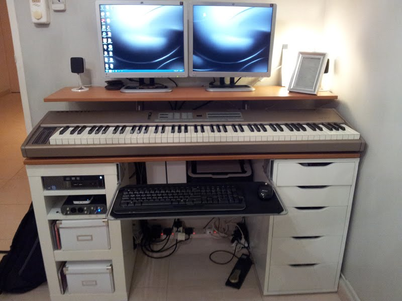 Sophisticated Cabinet Computer Cd Rack Provides Ideal Space For Device: Unique Cabinet Computer Cd Rack With Piano And Twin Monitor