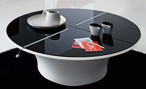 Coffee Table Designs : Unique Circle Black And White Coffee Table