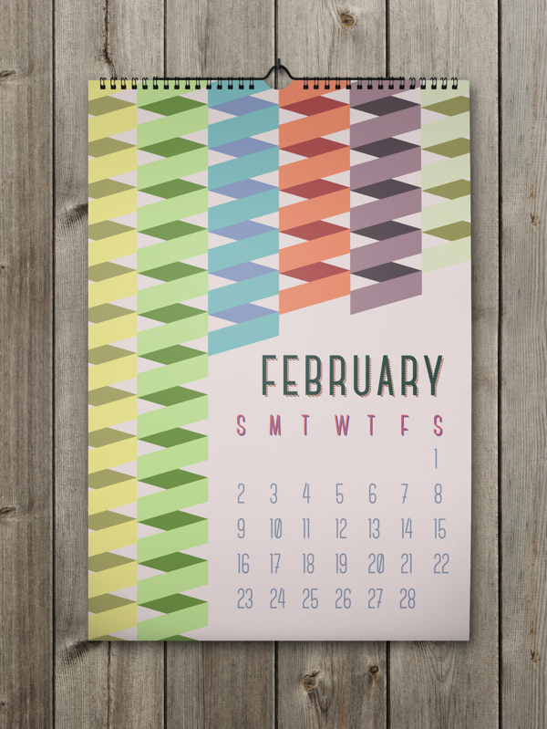 Unique Calendar Shape Designs With Colorful Ideas For 2014: Unique February Calendar Pattern With Colorful Spiral Pattern