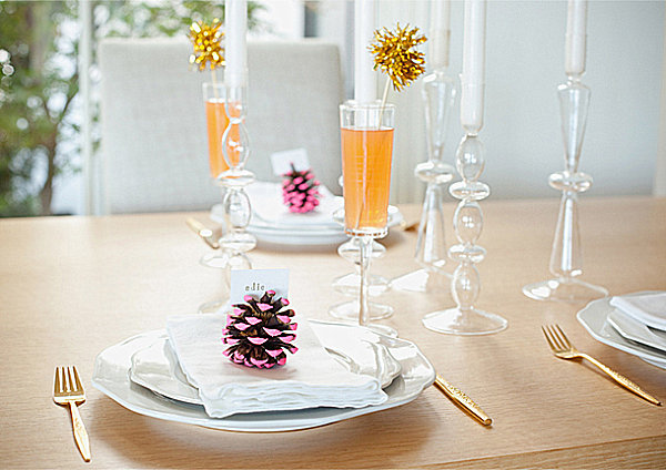 Buffet Table Decorating Ideas For Special Occasion: Unique Glass Transparent Candle Container Gold Fork White Napkin
