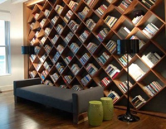 Contemporary Home Library Furniture With Neat Arrangement: Unique Library Book Shelves Design Ideas