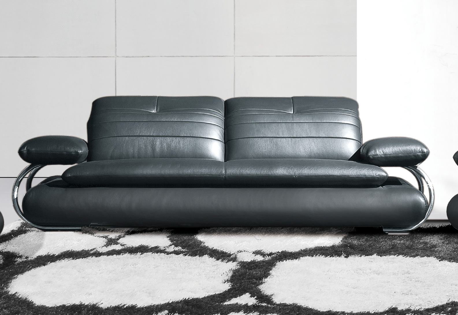 Black Sofas Of Modern Look In A Living Room: Unique Living Room Black Leather Sofa
