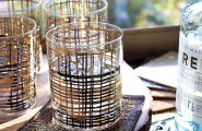 Gorgeous Drinking Glasses Decoration For Interior Design : Unique Metallic Bar Glasses With Beautiful Decoration Ideas For Inspiration
